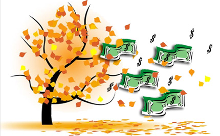 image: money blowing off tree